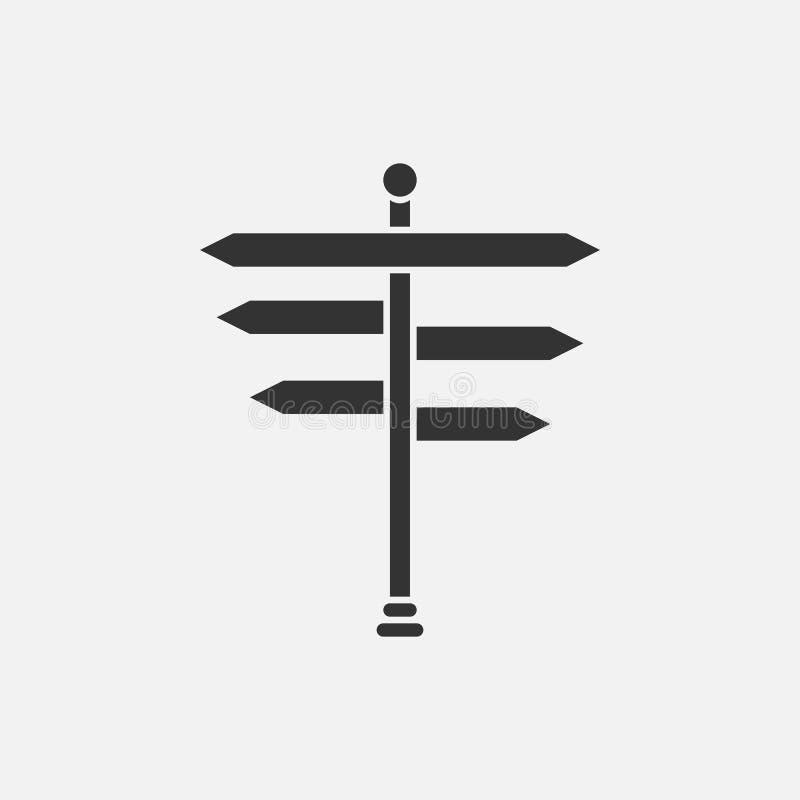 Kierunkowskaz ikona, guidepost, kierunek, droga ilustracja wektor