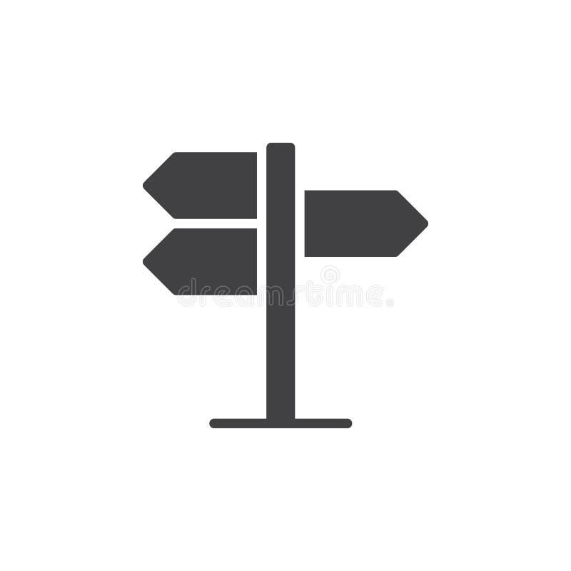 Kierunkowskaz, pointer ikony wektor, wypełniający mieszkanie znak, stały piktogram odizolowywający na bielu royalty ilustracja