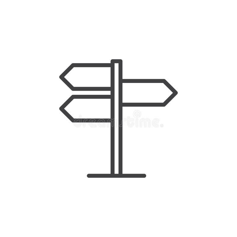 Kierunkowskaz, pointer kreskowa ikona, konturu wektoru znak, liniowy stylowy piktogram odizolowywający na bielu royalty ilustracja