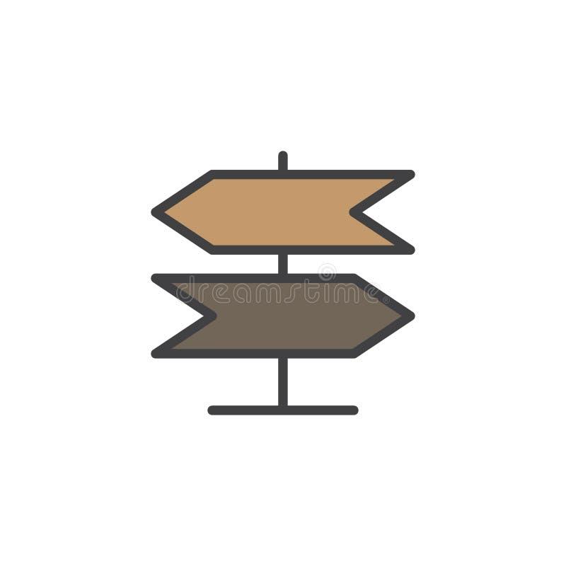 Kierunkowskaz, pointer wypełniał kontur ikonę ilustracji