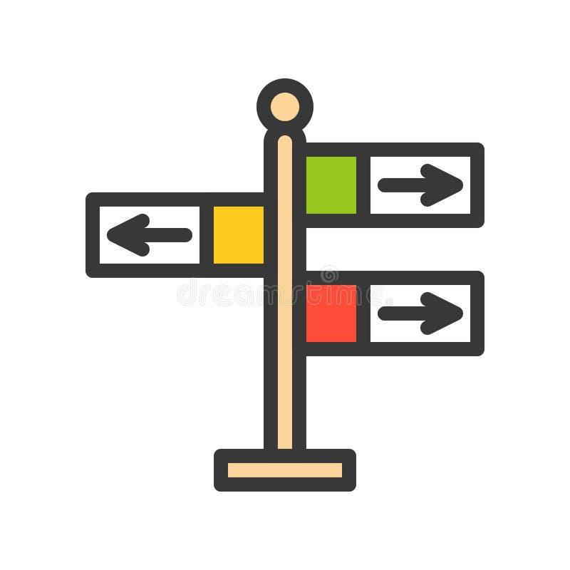 Kierunkowskaz wektorowa ikona, wypełniający konturu stylu editable uderzenie ilustracja wektor