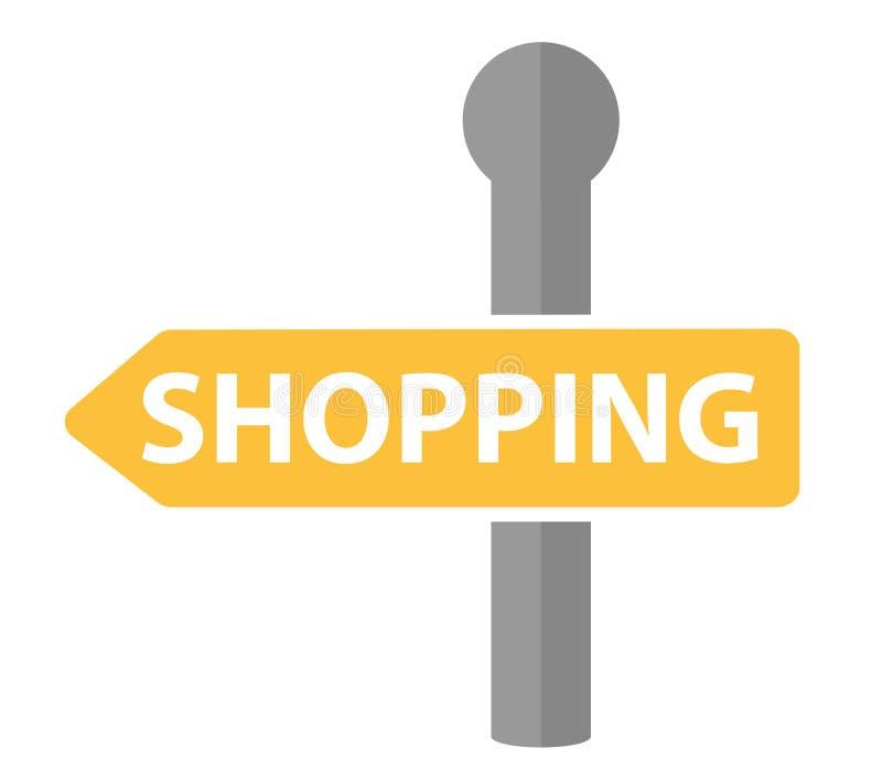 Kierunkowskaz z wpisową zakupy ikoną, płaski projekt Drogowy znak, strzała odizolowywająca na białym tle wektor ilustracja wektor