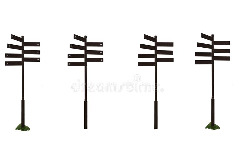 Kierunkowskazu przewdonika kierunku znak na słupie w wiele styl brown metalu szyldowa poczta odizolowywająca ilustracji
