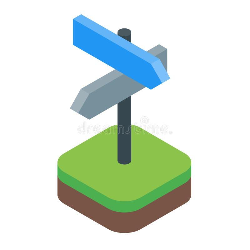 Kierunkowy szyldowy isometric z strzała wektorem odizolowywającym ilustracja wektor