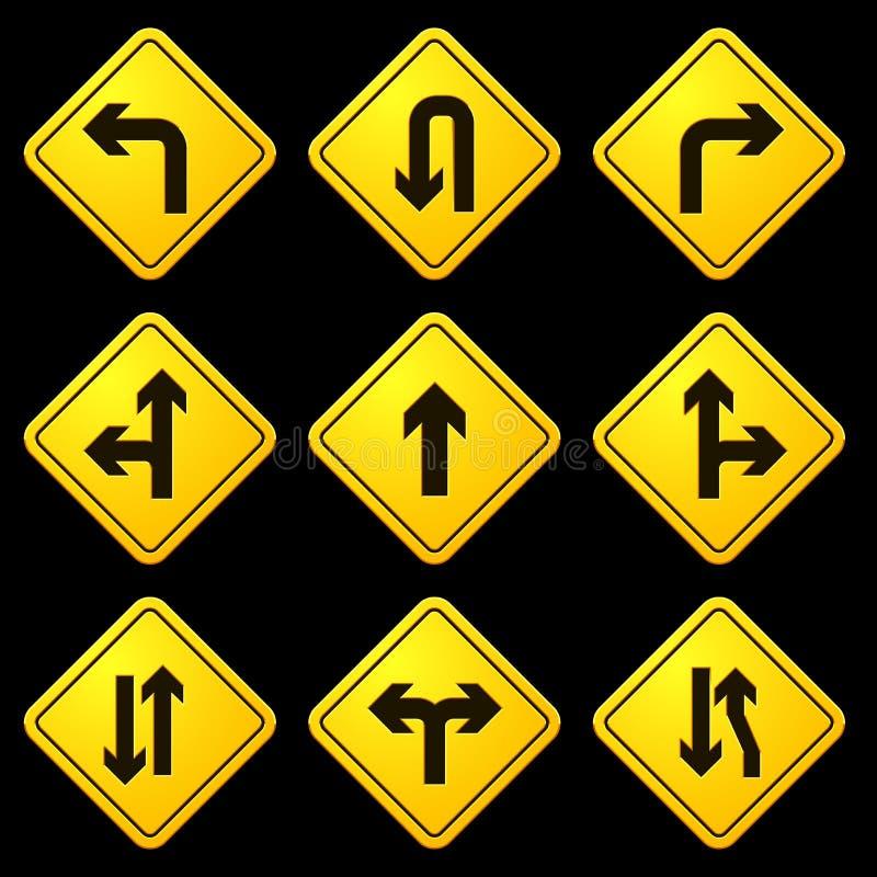 Kierunkowych strzała kolor żółty Podpisuje 01 ilustracja wektor