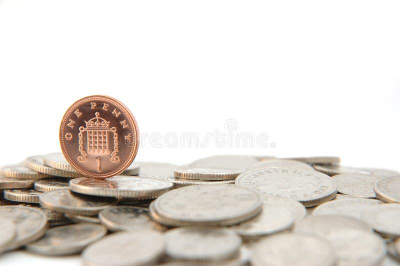 Kies één pence uit stuk royalty-vrije stock afbeelding