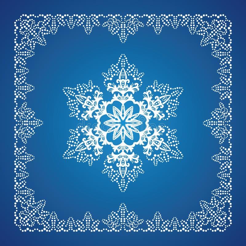 Kies gedetailleerde sneeuwvlok met de grens van Kerstmis uit stock illustratie