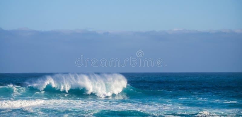 Kies perfecte golf in blauwe diepe gevaarlijke oceaan - perfect vat voor moedige surfers uit - kust op achtergrond voor toeristis royalty-vrije stock fotografie