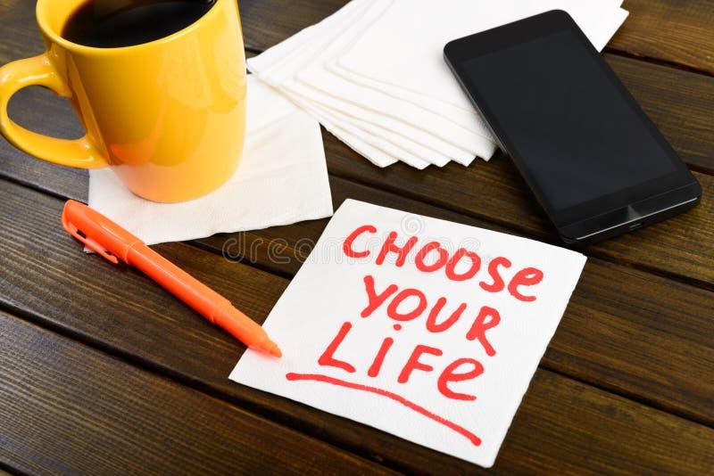 Kies uw leven schrijvend op wit servet stock afbeelding