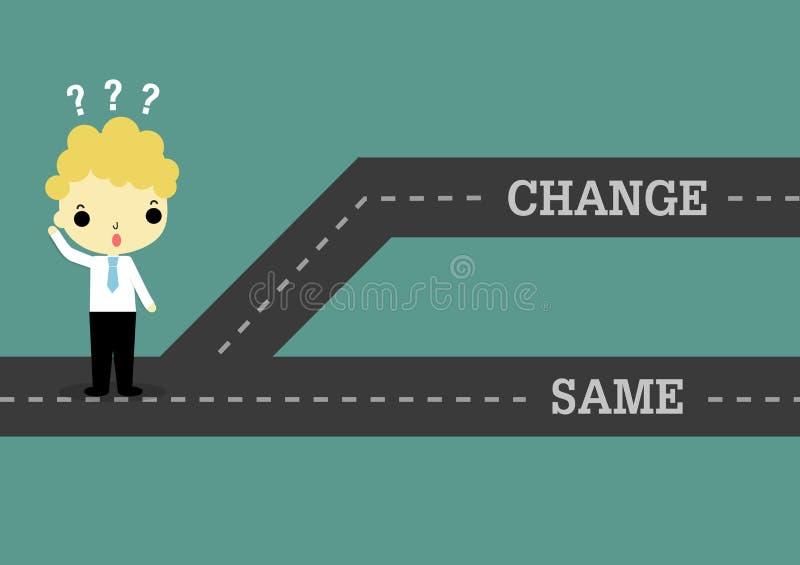 Kies verandering in toekomst of zelfde het verleden royalty-vrije illustratie