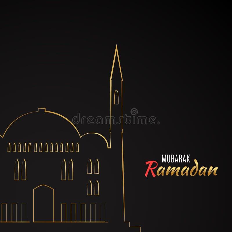 Kies vlak die pictogram van Moskee uit op zwarte achtergrond wordt geïsoleerd stock illustratie