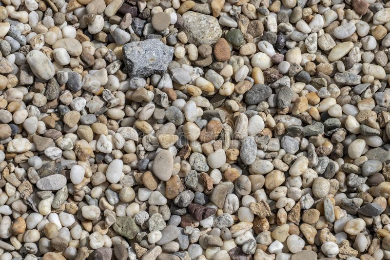 Kiesbeschaffenheit Kleine Steine, Little Rock, Kiesel in vielen Schatten von Grauem, von weißem, von Braunem, von Grünem und von  stockfotos
