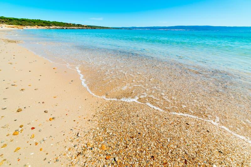 Kieselsteine und Sand am Strand von Lazzarett in Alghero lizenzfreie stockfotografie