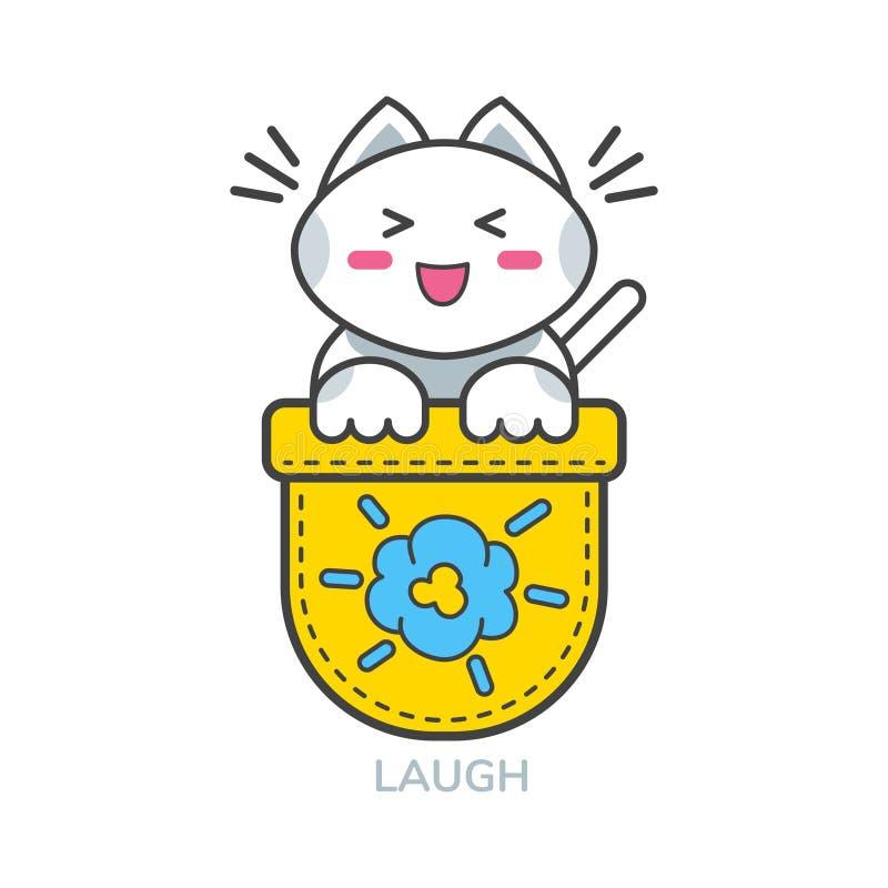 Kieszeniowego ślicznego kota emoji azjatykcia ikona dla śmiechu royalty ilustracja