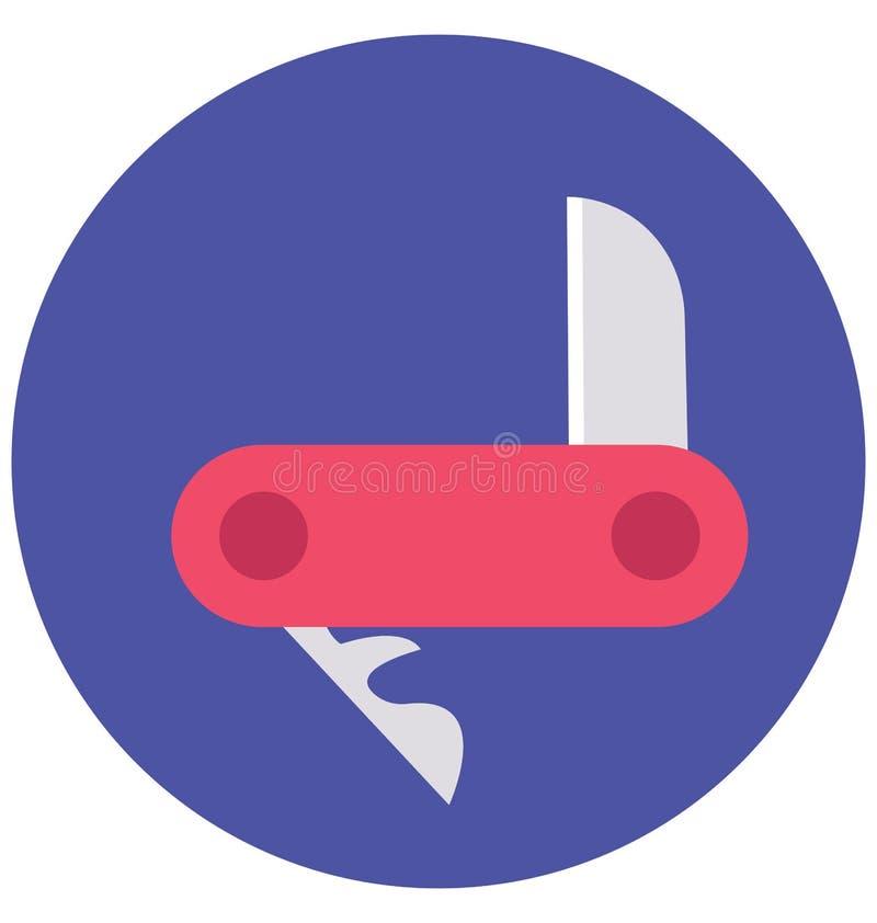 Kieszeniowego noża kolor Odizolowywał Wektorową ikonę która może łatwo redagować lub modyfikująca ilustracji