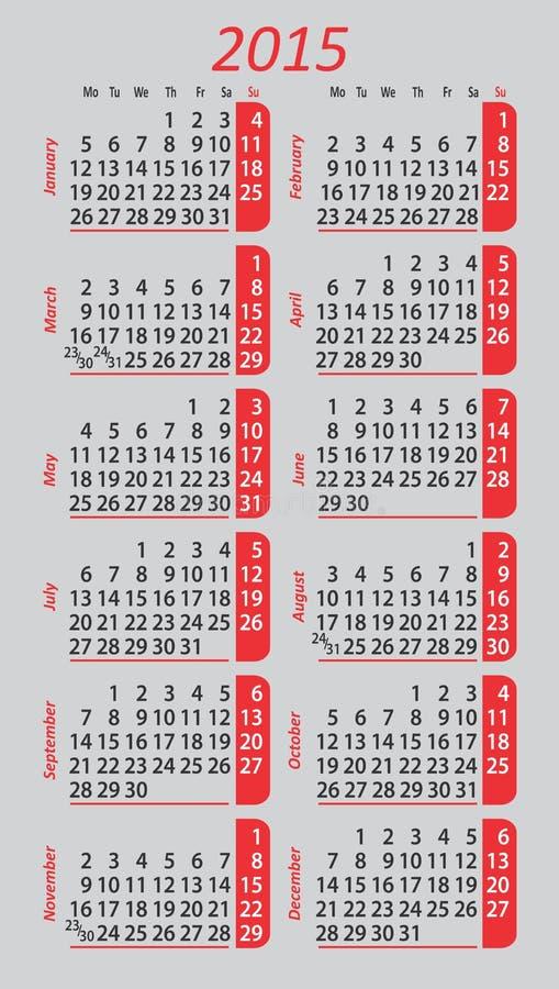 Kieszeniowy kalendarz 2015 ilustracja wektor