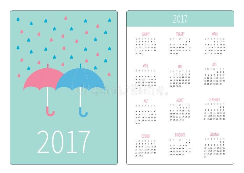 Kieszeniowy kalendarz 2017 rok Tydzień Zaczyna Niedziela Płaskiego projekta orientaci Pionowo szablon Różowi i błękitni parasole  ilustracji