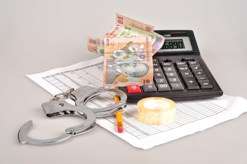 Kieszeniowy kalkulator, romanian gotówka, szkła, plan biznesowy i Han, zdjęcie stock
