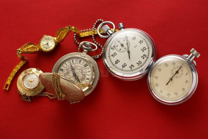 Kieszeniowy rocznika zegarek, stopwatch i obraz stock