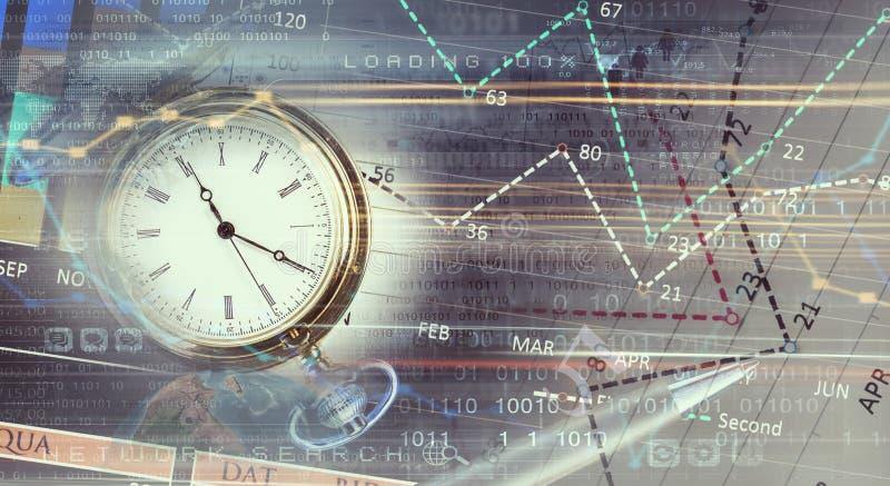 Kieszeniowy zegarek na infographs Mieszani środki zdjęcia stock