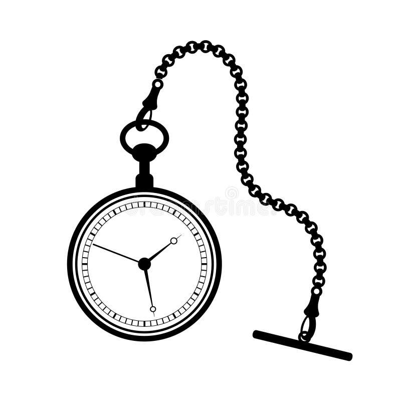 Kieszeniowy zegarek z łańcuchem odizolowywającym na białym tle ilustracji