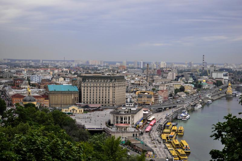 kiev улица Dnieper стоковые фотографии rf
