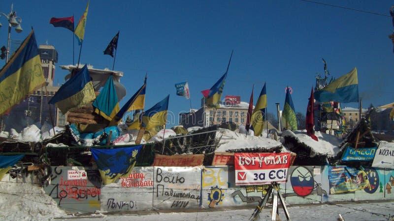 Kiev. Barricadas Snow.2014 fotos de stock royalty free