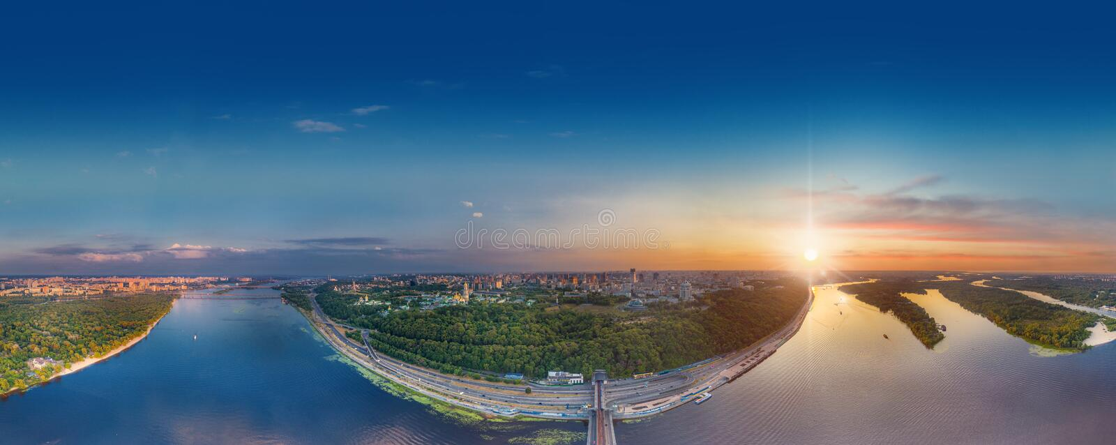 Kiev bridge aerial view. A large panorama of Kiev over the metro bridge towards the Khreshchaty Park and the Kiev stock photo