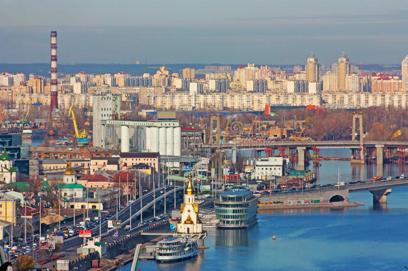 Kiev bussines and industry city royalty free stock photo