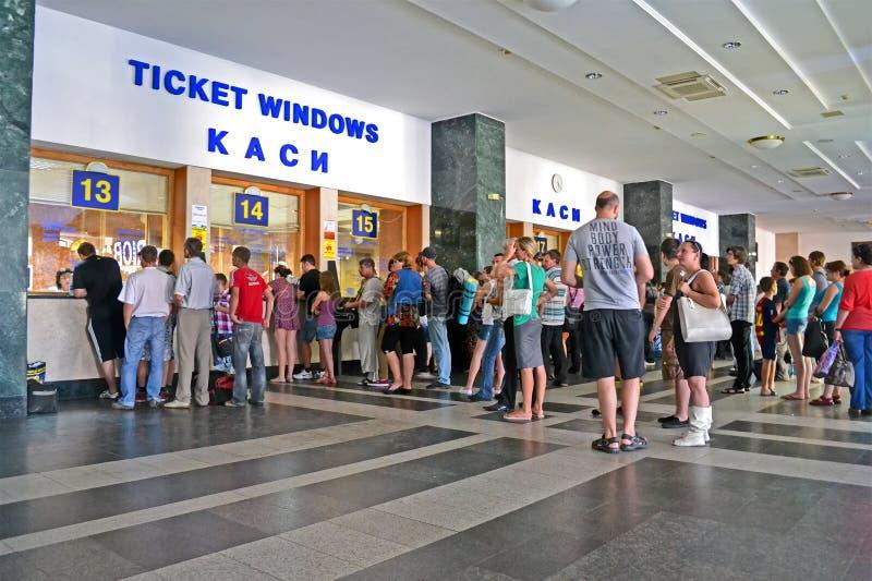 passengers buy tickets in ticket desk, Kiev Central Railway Station, Ukraine, royalty free stock photography