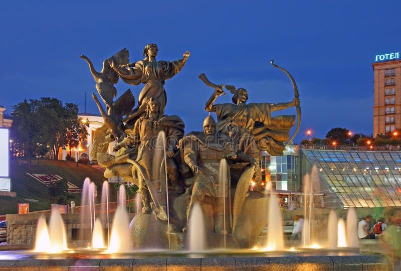 Kiev-Cidade da noite foto de stock royalty free