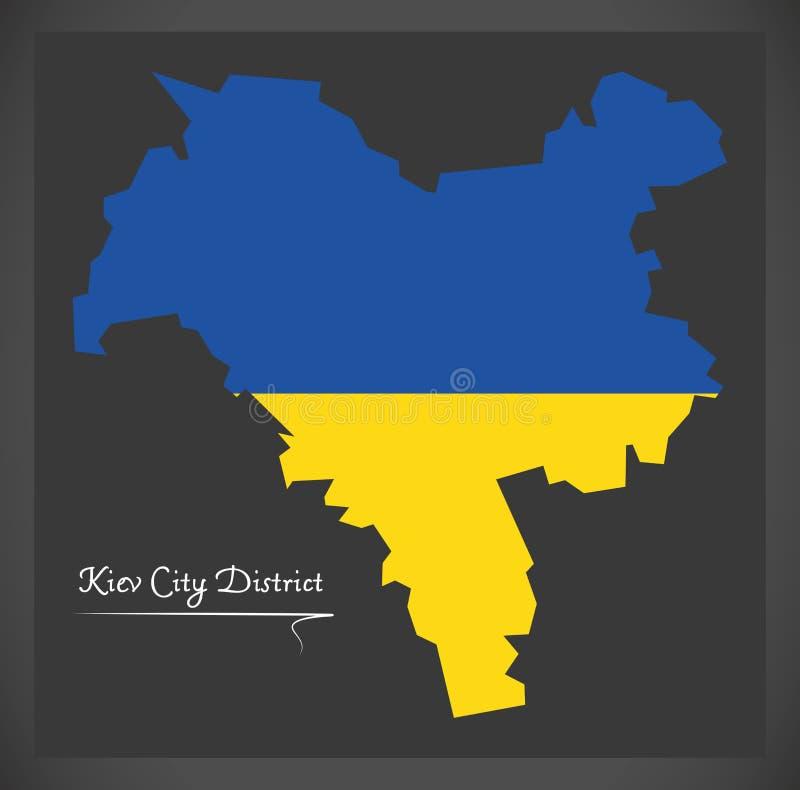Kiev City District map of Ukraine with Ukrainian national flag i. Kiev City District map of Ukraine with Ukrainian national flag royalty free illustration