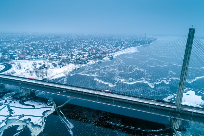 Kiev city in snowy winter royalty free stock photos