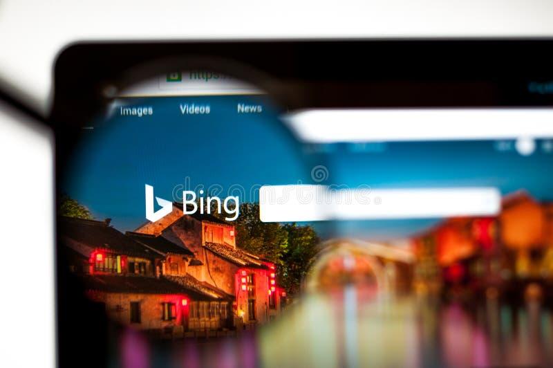 Kiev, de Oekra?ne - april 5, 2019: Bing Com-websitehomepage Het is een Webzoekmachine door Microsoft wordt en in werking dat word royalty-vrije stock afbeelding
