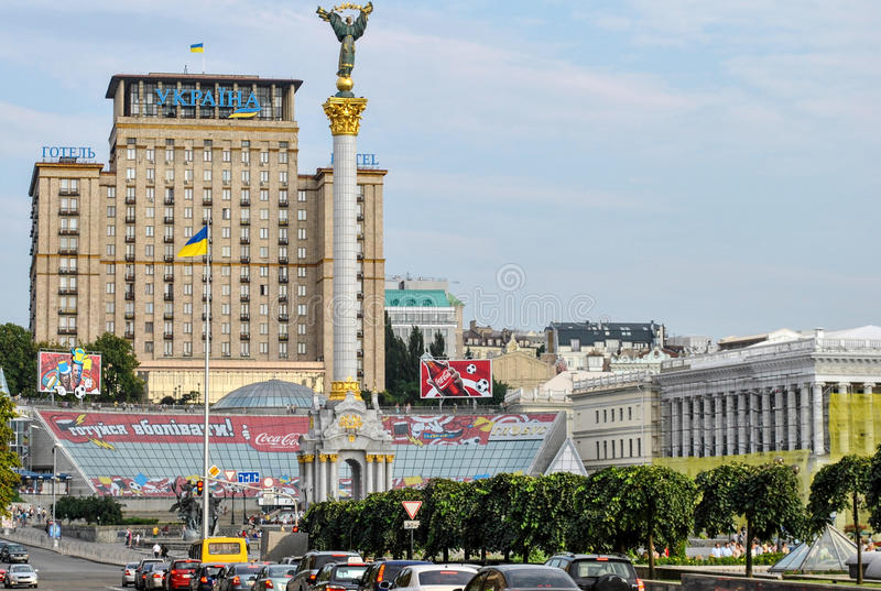 Kiev, de Oekraïne - Juni 10, 2011: Onafhankelijkheidsvierkant, het centrale vierkant in Kiev royalty-vrije stock foto's