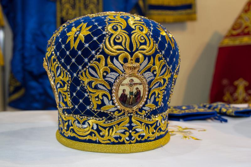 Kiev, de Oekraïne - Juni 05, 2018: Plechtige mijter - plechtig hoofddeksel van Orthodox stock afbeelding