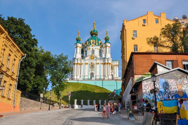Kiev, de Oekraïne - Juni 15, 2012: St Andrew ` s Kerk op Andrew Descent in Kiev royalty-vrije stock afbeelding