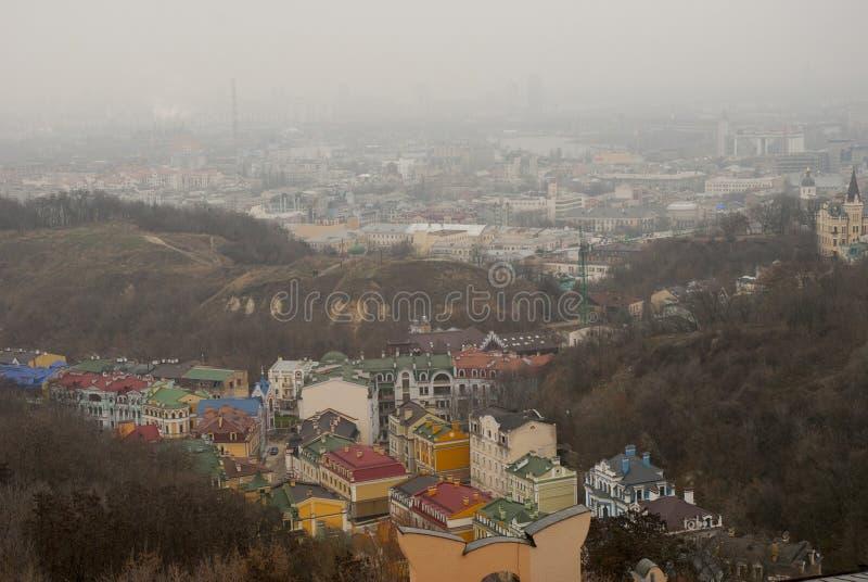 Kiev, de Oekraïne Mening van boven het oude centrum royalty-vrije stock foto's