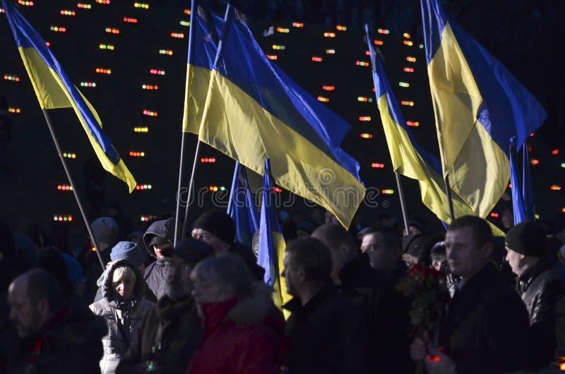 KIEV, de OEKRAÏNE - 28 Nov., 2015: Oekraïeners herdenken de Grote Hongersnood van 1932-1933 royalty-vrije stock foto
