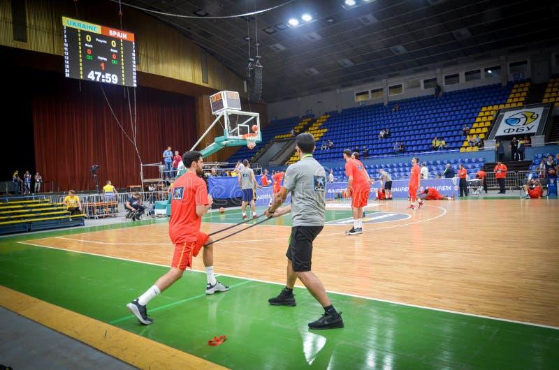 KIEV, de OEKRAÏNE - September 14, 2018: De Speler van Spanje tijdens FIBA stock afbeelding