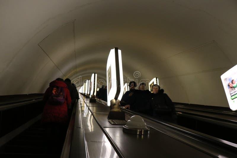 Kiev, de Oekraïne Weergeven van de Arsenalna-metro post, de diepste post in de wereld stock afbeeldingen