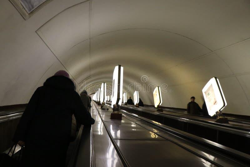 Kiev, de Oekraïne Weergeven van de Arsenalna-metro post, de diepste post in de wereld royalty-vrije stock fotografie