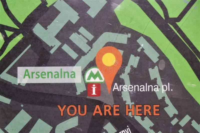 Kiev, de Oekraïne Weergeven van de Arsenalna-metro post, de diepste post in de wereld stock fotografie