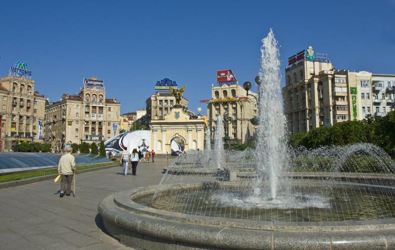 Kiev, grand dos de l'indépendance photographie stock libre de droits