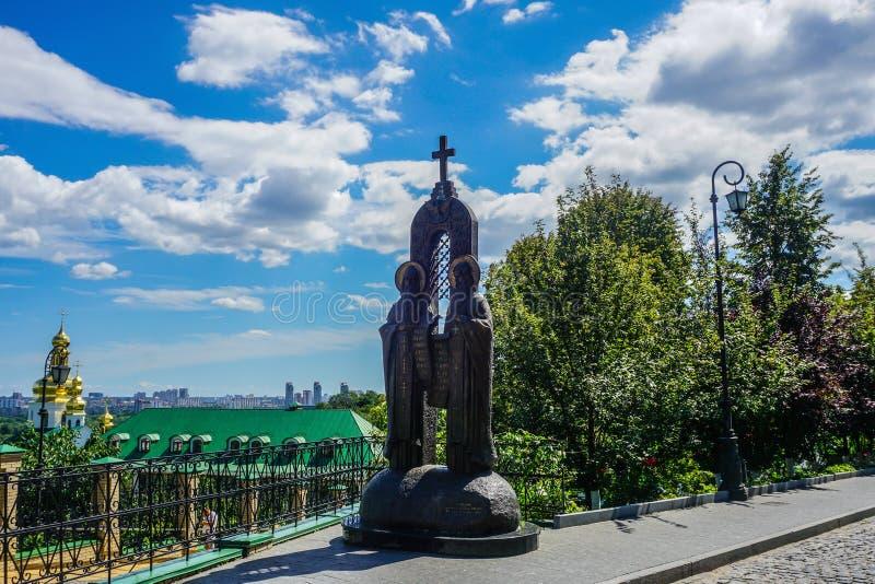 Kiev Grote Lavra Saints Statue royalty-vrije stock fotografie