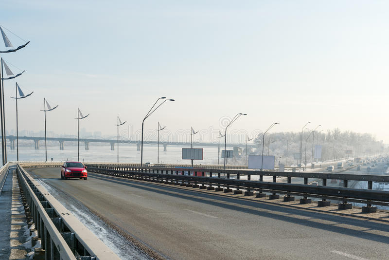 Kiev highways in winter stock photography