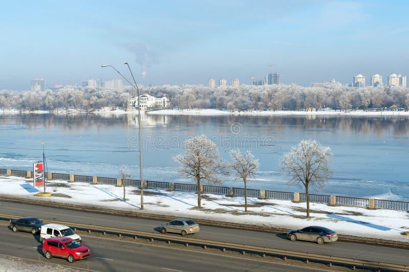 Kiev highways in winter stock photo