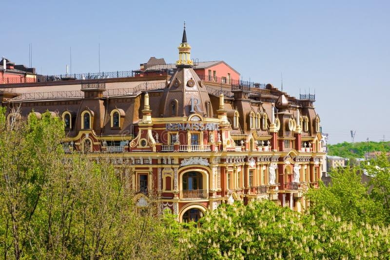 KIEV, il 5 Ucraina-maggio: Vecchia costruzione nello stile di neo-rinascita a Kiev maggio 5,2013.  La rinascita Kyiv dell'hotel. fotografie stock libere da diritti