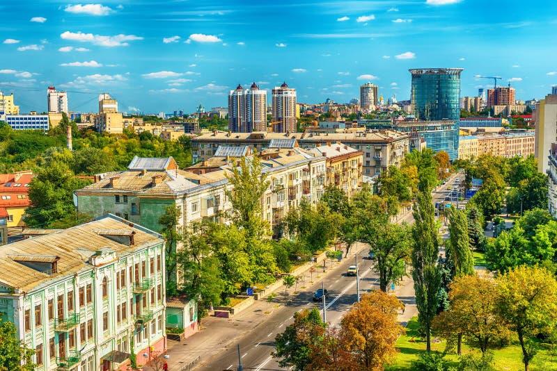 Kiev of Kiyv, de Oekraïne: luchtpanorama van het stadscentrum royalty-vrije stock afbeeldingen