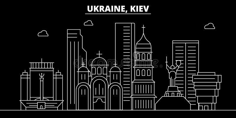 Kiev konturhorisont Ukraina - Kiev vektorstad, ukrainsk linjär arkitektur, byggnader Kiev loppillustration vektor illustrationer